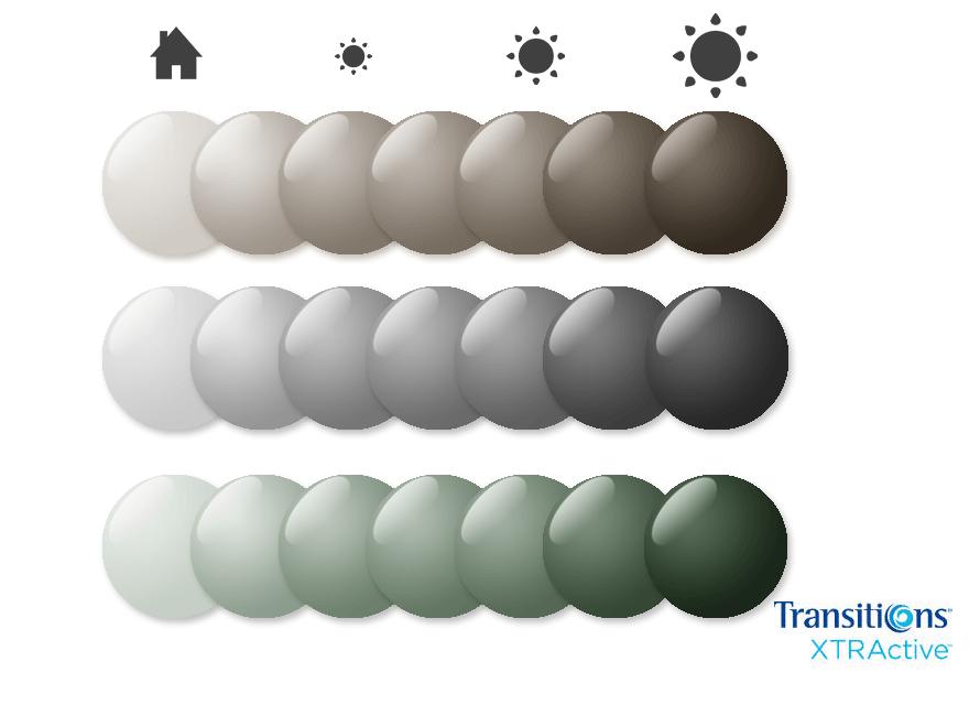 Gama de colores de las lentes Transitions Xtractive
